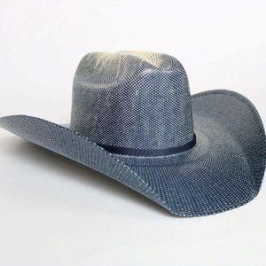 Blue Western Straw Hat